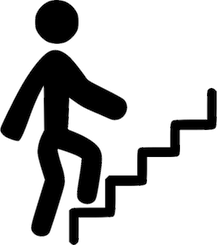 Climbing stairs step by step to reach goals
